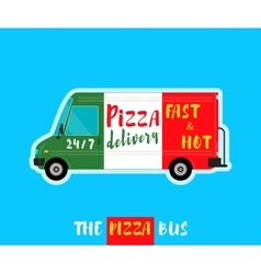 Pizza bus delivery vector image vector image