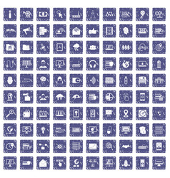 100 cyber security icons set grunge sapphire vector