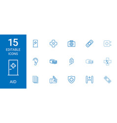 15 aid icons vector