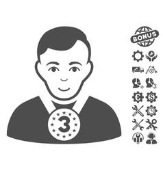 3rd Prizer Sportsman Icon With Tools Bonus vector image