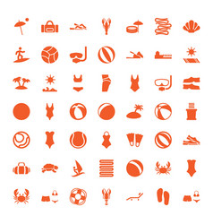 49 beach icons vector image