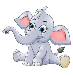 Adorable baby elephant sit vector image