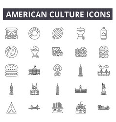 american culture line icons signs set vector image