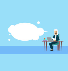 arab businessman sitting at office desk hold vector image