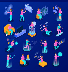 augmented reality isometric icons set vector image