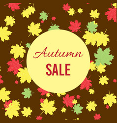 Autumn fall sale poster with maple leaves vector