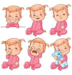 Baby girl emotions set vector