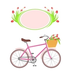 Bicycle and frame flowers vector