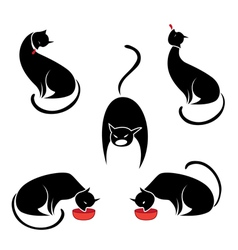 big set of the black cats vector image