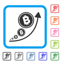 bitcoin inflation trend framed icon vector image