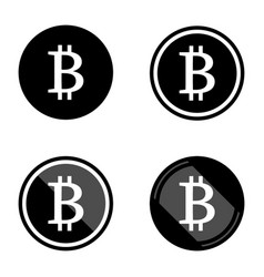 Bitcoin symbols icons logos black with white set vector
