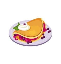 Blueberry Pancake Breakfast Food Element Isolated vector