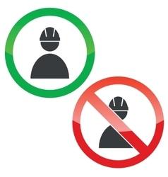 Builder permission signs set vector