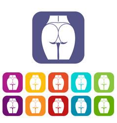 buttocks of girl icons set vector image