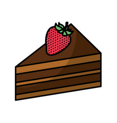 cake portion with strawberry vector image