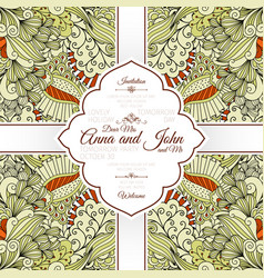 card with beige floral doodle pattern vector image