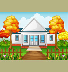 Cartoon house in autumn season with green yard and vector