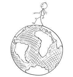 cartoon traveler walking on earth globe vector image