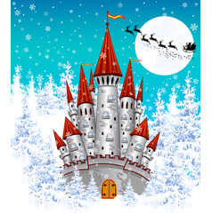 Castle in the winter forest vector