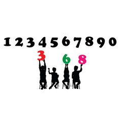 childrens silhouettes learn numbers vector image