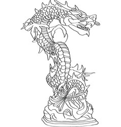 Chinese style dragon statue vector
