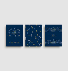 Christmas and new year gold outline card set vector