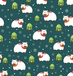 Christmas seamless patterns with bears vector