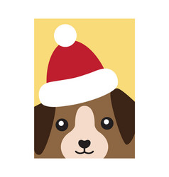 cover dog in santa claus hat vector image
