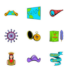Cruise travel icons set cartoon style vector