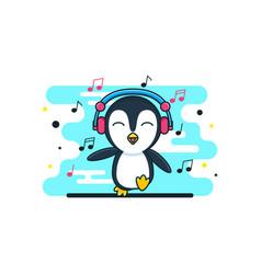 Cute bapenguin cartoon headphone music vector