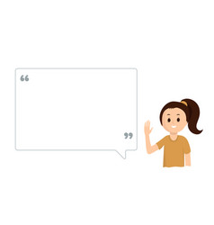 cute girl with big speech bubble on white vector image