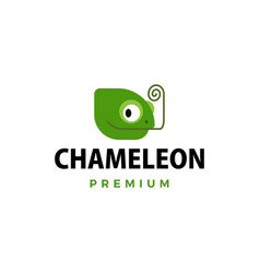 cute little chameleon cartoon logo icon vector image