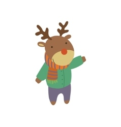 Deer In Green Warm Coat Childish vector image