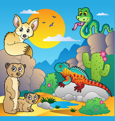 Desert scene with various animals 4 vector