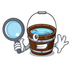 detective wooden bucket character cartoon vector image