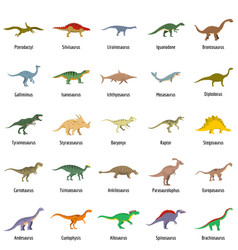 dinosaur types signed name icons set vector image