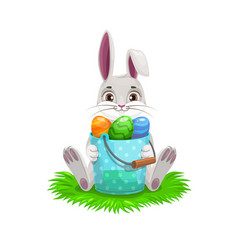 Easter bunny or rabbit with egg hunt bucket vector