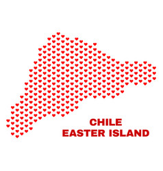 easter island map - mosaic of love hearts vector image