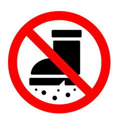 Entrance to dirty shoes is prohibited sign vector
