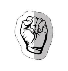 figure hand breast cancer defense icon vector image