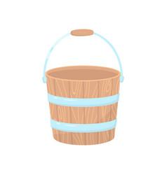 Flat icon empty wooden bucket for garden vector