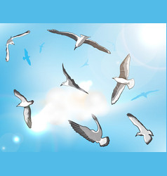 Flock of Seagulls vector