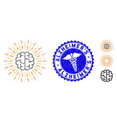 Flu collage brain radiance icon with serpents vector