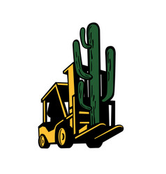 forklift truck lifting cactus plant retro vector image