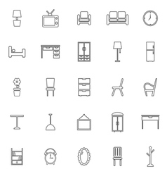 Furniture line icons on white background vector image