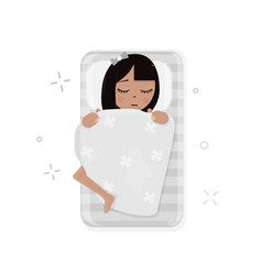 girl sleeping in bed vector image
