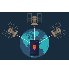 GPS global positioning system satellite phone vector image