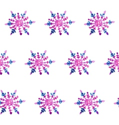 Hand-drawn watercolor snowflakes seamless pattern vector image