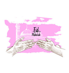 Hand forgive mosque drawing isolated vector
