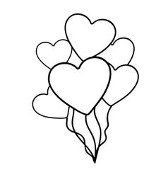 heart balloons icon image vector image